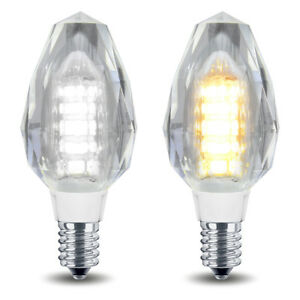 2 x 4W LED Crystal Candle Light Bulb Chandelier Wall Light Candle Lamp E14