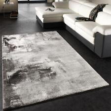 Teppich Modern Designer Teppich Leinwand Optik Grau Schwarz Weiss Meliert