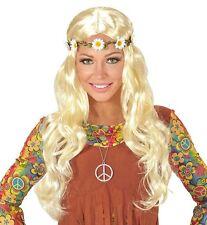 Señoras Peluca de Chica rubia Hippy 60s 70s Flores Rock Roll Groovy glasto Vestido de fantasía