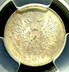 PCGS MS66+ Gold Shield-Finland 1917S Double Eagle Silver 25 Pennia Super GEMBU