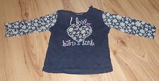 """Dunkelblaues Shirt mit """"I love hearts & birds"""" Schriftzug - Größe 74"""