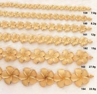 14k Plumeria Flower Bracelet Solid Yellow Gold - 6 Sizes Available Made in USA