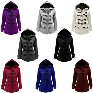 JUSTYOUROUTFIT Womens Fleece Acket Duffle Style HoodedTogglePocket Coat Top059