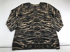 Talbots Large L Brown Black Animal Print Pure Cashmere Thin Sweater 3/4 Sleeve