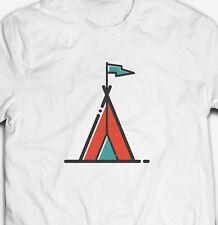Camping Zelt Logo erkunden Abenteuer Outdoor Natur 100% Baumwolle T-Shirt Tee