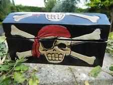 Pirate Chest Treasure Chest Wooden Storage Box - Pencil Case Trinket Box Black