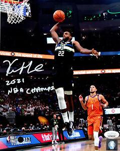 Milw Bucks  KHRIS MIDDLETON Signed 8x10 Photo #2 w/ 2021 NBA Champ AUTO JSA