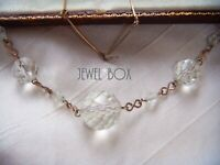 VINTAGE ART DECO CLEAR GLASS FAUX ROCK CRYSTAL BEAD ROLLED GOLD NECKLACE BRIDAL