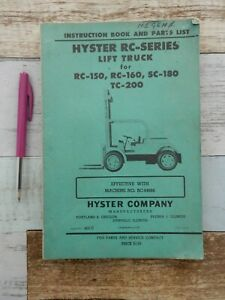Hyster Rc150 Rc-160 SC-180 TC-200 fork lift truck instruction book parts list