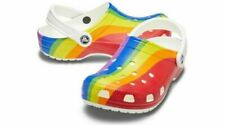NEW Crocs Classic Clogs Shoes in Rainbow Stripe - Size Women 7 / Men 5