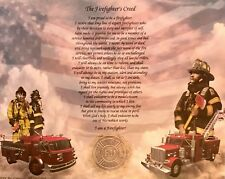 "Firefighter's Creed Printed Artwork Picture ""Gift"" Can Frame for wall hanging!"