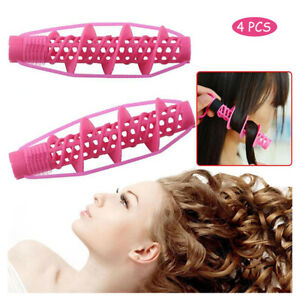4Pcs Hair Curlers Rollers Spiral Curling DIY Tool Hairdressing No Heat No Clip