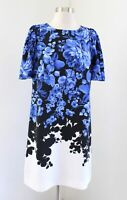 Ann Taylor Blue Black Floral Toile Ombre Printed Shift Dress Size 4 Short Sleeve