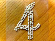 "2 x ""4"" Self Adhesive Stick on Pearl Numbers Diamante Gems Crystals Rhinestones"