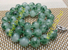 6mm8mm10mm12MM Natural Green Emerald Round Gemstone Beads Necklace 24-48 Long