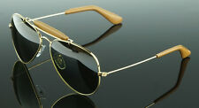 POLARIZED NEW Genuine RAY-BAN Aviator Leather Sunglasses RB 3422Q 001/M9 58 MM