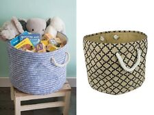 Bin Organizers And Storage Toy Basket For Blankets Burlap Blue Round Clothes