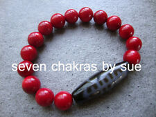 Feng Shui - Wealth & Longevity DZI + 10mm Red Coral