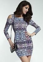 Sexy Purple Aztec Print Open Shoulder Stretch Bodycon Mini Dress Size 10/12