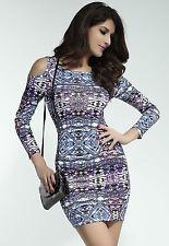 Sexy púrpura Aztec Print abierto Hombro Bodycon Stretch Mini Vestido Talla 10/12