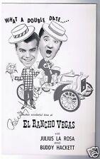 El Rancho Vegas Julius La Rosa  Buddy Hackett Autographed Giant Post Card 1950's