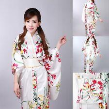 Vintage Japanese Kimono Yukata Haori Costume Retro women Dress Obi Cosplay Gown