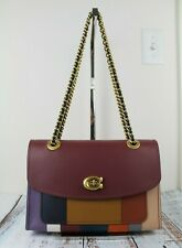 COACH 76085 Parker Patchwork Stripes Shoulder Bag Oxblood Multi/Brass