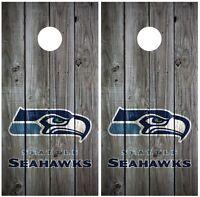 Seattle Seahawks Vintage Wood Cornhole Board Decal Wrap Wraps (Grey)