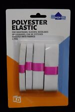 ELASTIC WHITE SEWING BANDS - Multi Pack of 4 - 25 20 12 & 10 MM WIDE - FREE POST