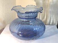 "Cornflower Blue Crimp Top Squat Vase 5""  w/ Pontil Scar Handblown Ribbed Pattern"