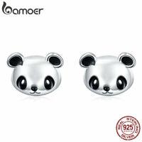 BAMOER .925 Sterling Silver Stud Earrings Enamel Cute panda For Women Jewelry