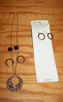 Gold Circle's Set  Necklace & Dangle Drop Earrings  Fashion Jewelry