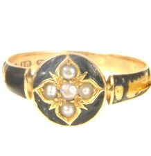 18ct Gold Georgian 1817 Mourning Ring Antique Seed Pearl Enamel Memorial Size R