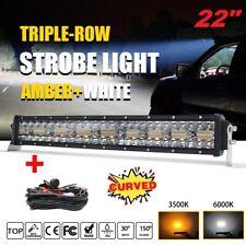 "Curved 22inch 1280W Tri-Row Amber Strobe LED Light Bar Spot Flood Off-road  20"""