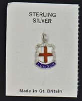 NEW Vintage London England Enamel Shield Charm Sterling Silver Travel City Flag