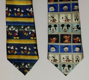Disney Mickey Unlimited Kids Mickey Mouse & Friends Clip On Neck Tie Lot Of 2