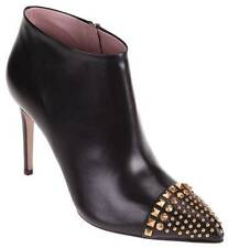 353724 AUTHENTIC GUCCI MALAGA KID BLACK LEATHER STUDDED BOOTIES  7  37.5