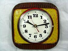 "70´s design pottery wall clock  /  Keramik Wanduhr  "" Lava "" Glasur  working"