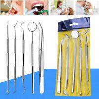 5pcs Stainless Steel Dental Set Dentist Teeth Kit Oral Clean Probe Tweezers Tool
