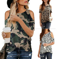 Womens Leopard Print TShirt Summer Tops Ladies Cold Shoulder Shirt Blouse