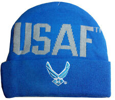 USAF Embroidered Cuff Knit Beanie Stocking Hat or Cap Officially Licensed