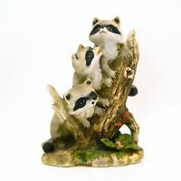 Vintage HOMCO 3 Raccoons Figurine Porcelain Home Interiors 1433  #2