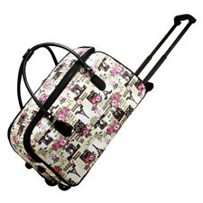 New Tower Print Travel Holdall Trolley Luggage With Wheels - CABIN APPROVED