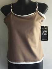BNWT Face Off Brown & White Singlet Size 10