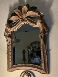Vintage Monkeys and Coconut Palm Tree Chinoiserie Mirror Maitland Smith STYLE