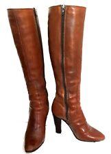 Hana Mackler Brown Leather Zip Up Boots - Size 6.5 M - VTG -EUC