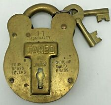 Vintage Solid Brass Jared Lock #11 Admiralty Old English 2 Keys Morgan & Sons