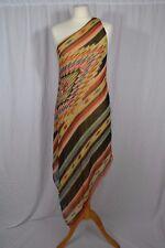 RALPH LAUREN Navajo pattern silk striped assymetric one shoulder dress size UK10