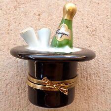Limoges France Handpainted Rochard Wine Champagne Bottle Ice Bucket Trinket Box