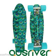"22"" Street Retro Style Skateboard Mini Fish Board Peacock Teenager Gift Outdoor"